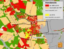 Mapa do desmatamento acumulado na TI Marãiwatsédé, dezembro de 2012 / Crédito: Instituto Socioambiental/Geoprocessamento